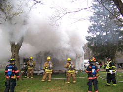 Firefighters putting out fire