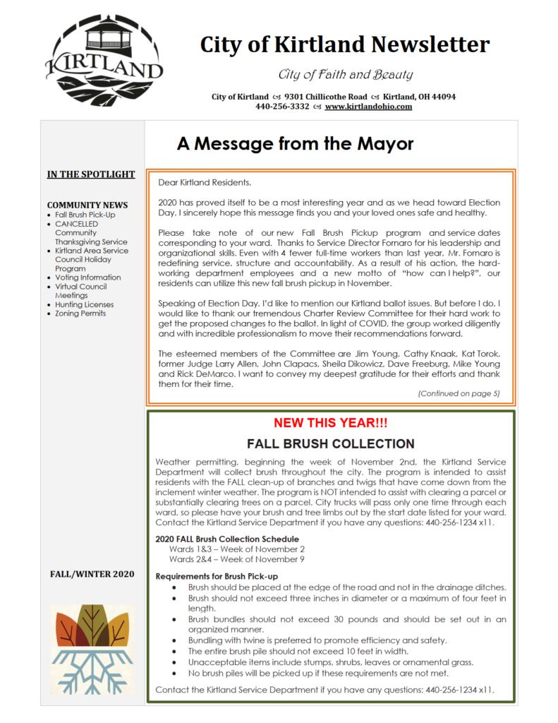2020 Fall-Winter Newsletter