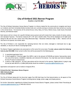Kirtland Hometown Hero  2021 Registration Form